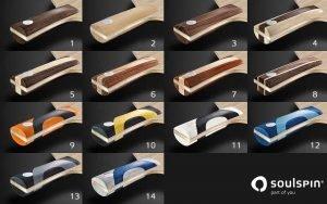 Farbkarte verfügbare Griff-Farben für den Griff von individuellen Tischtennishölzern von SOULSPIN