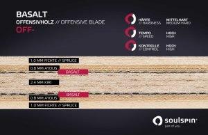 Querschnitt durch das Basaltholz von Soulspin Tischtennisschläger mit Basaltfaser