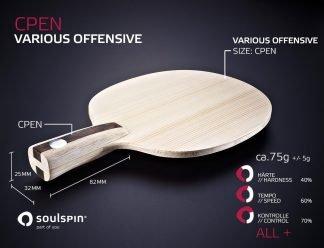 Penholder mit Schwerpunkt auf Spin für offensive Spieler handgemachte Tischtennishölzer von SOULSPIN