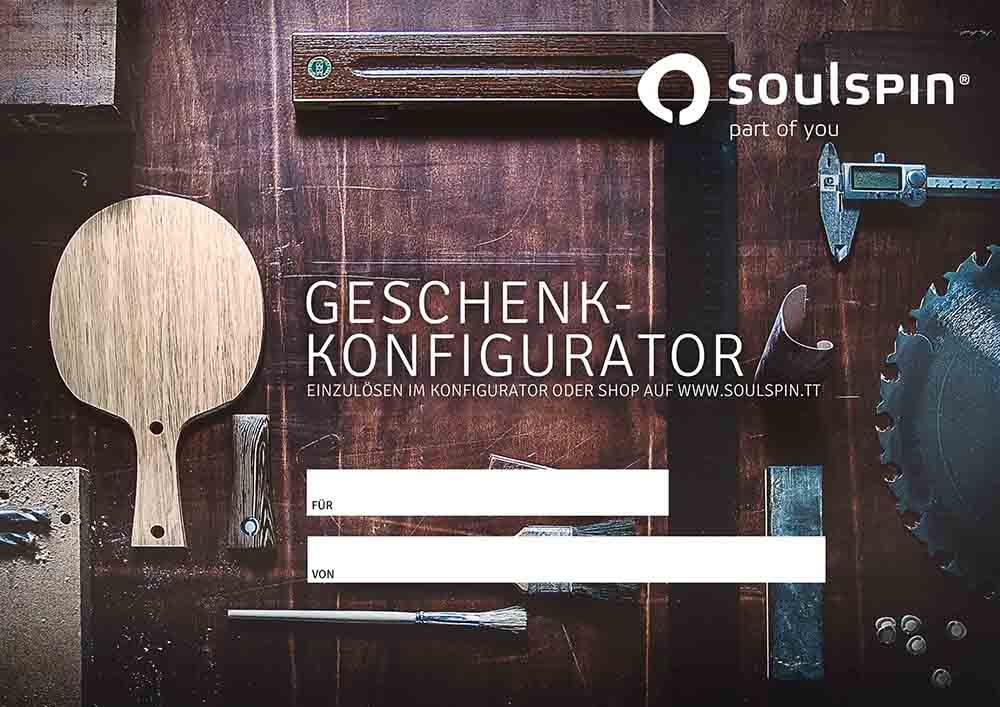 Geschenk-Gutschein für Tischtennis-Spieler sofort einlösbar im Tischtennisshop und Konfigurator von SOULSPIN