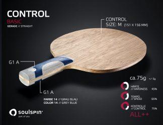 Control Tischtennisholz für Allroundspieler mit geradem Griff von Soulspin