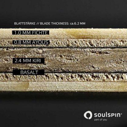Querschnitt durch den Tischtennisschläger Roots 6 Basalt von Soulspin