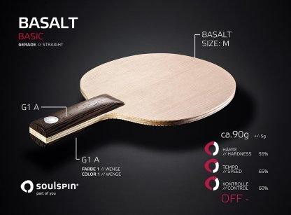 Basalt offensives Tischtennisholz mit Basalt-Faser und geradem Griff