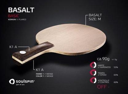 Basalt offensives Tischtennisholz mit Basalt-Faser und konkavem Griff