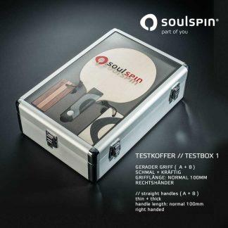 Testkoffer 1 zum Testen von geraden Schlägergriffen im Tischtennis-Shop von Soulspin bestellen